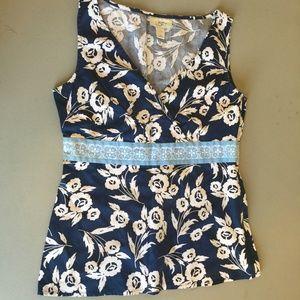 LOFT Blue Floral Top